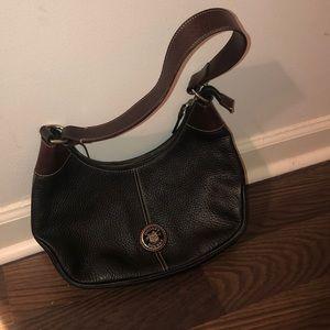 Black and brown leather Dooney & Burke hobo bag